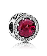 925 Sterling Silver Radiant Hearts with Cerise Crystal Charm Bead QJCB977 - $22.99