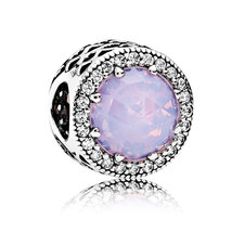 925 Sterling Silver Radiant Hearts & Opalescent Pink Crystal Charm Bead ... - $22.99