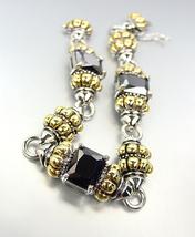 EXQUISITE Emerald-Cut Black Onyx CZ Glacier Crystals Gold Silver Caviar Bracelet - $31.99