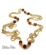Sarah Coventry Vintage Chain Necklace With Amber Root Beer Barrel Beads  - $20.00