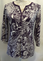 Karen Scott Women Purple White Casual Long Sleeve Floral Top Shirt Size ... - $15.99