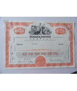 Howard Johnson Company Stock Certificate 100 Sh... - $5.69