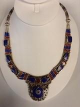 Moroccan Lapis Lazuli & Coral Tribal Silver Alloy Necklace - $109.39