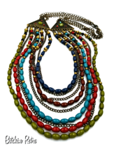You and I Bohemian Necklace with 9 Strands of Beads and Chains in Autum... - $29.00