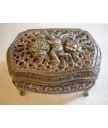 Cherub Trinket Jewelry Box Metal Victorian Rococo Style Filigree Footed ... - $45.00