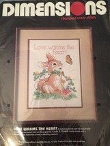 DIMENSIONS Stamped Cross Stitch Kit Love Warms The Heart 3071 Bunny Butt... - $12.87
