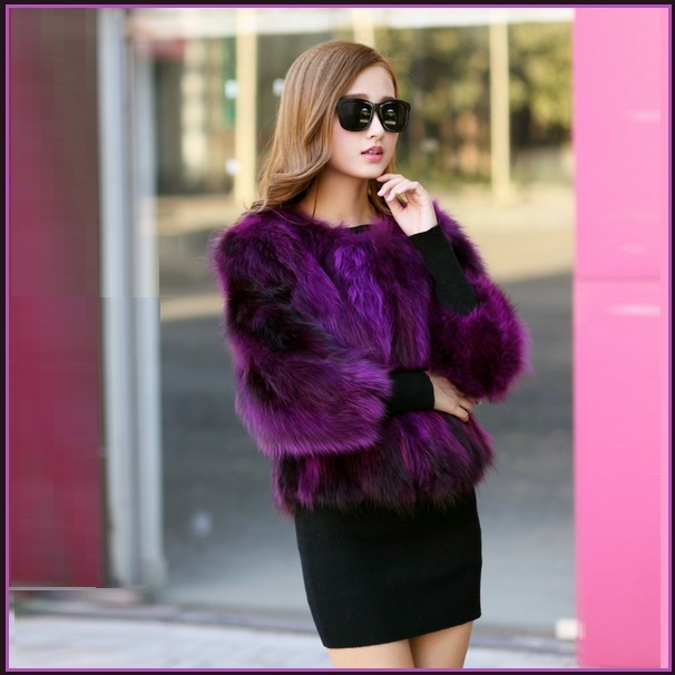 Deep Purple Natural Racoon Fur Three Quarter Sleeved Short Coat Jacket Pockets