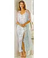 Blue Clipped Chiffon Nylon Robe Gown Set 2X 3X ... - $37.35