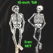 2-Gothic Glitter WOOD CUTOUT SKELETON PLAQUES W... - $9.87