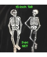 2pc-Gothic Glitter WOOD CUTOUT SKELETON PLAQUE Wall Door Sign Crafts Dec... - $9.87
