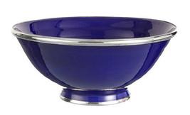Moroccan Handmade Cobalt Blue Ceramic Bowl Silver Metal Trim - $27.23