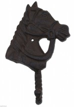Horse Head Western Wall Hook Rust Brown Cast Iron Rustic Home Decor 6.25... - $9.30