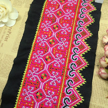 miao hmong cross stitch embroidery fabric lace trim ribbon tape tribal e... - $11.80