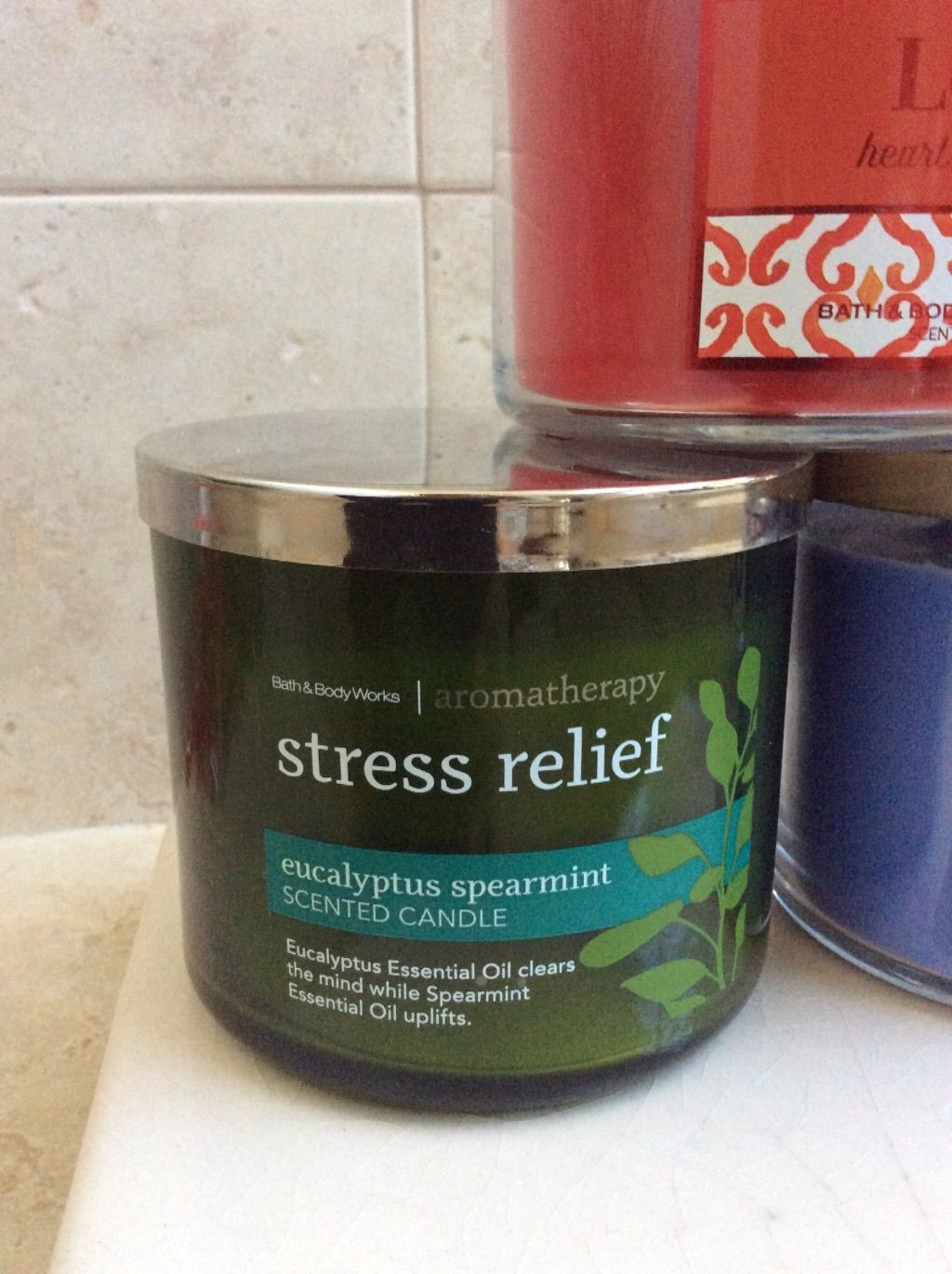 Bath Body Works 3 Wick Candle, Select One Scent:  Love, Relax, Stress Relief image 4
