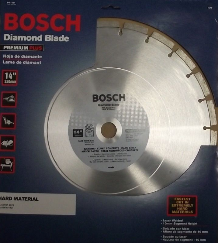 "Primary image for Bosch DB1464 14"" Premium Plus Segmented Diamond Blade for Hard Material Swiss"
