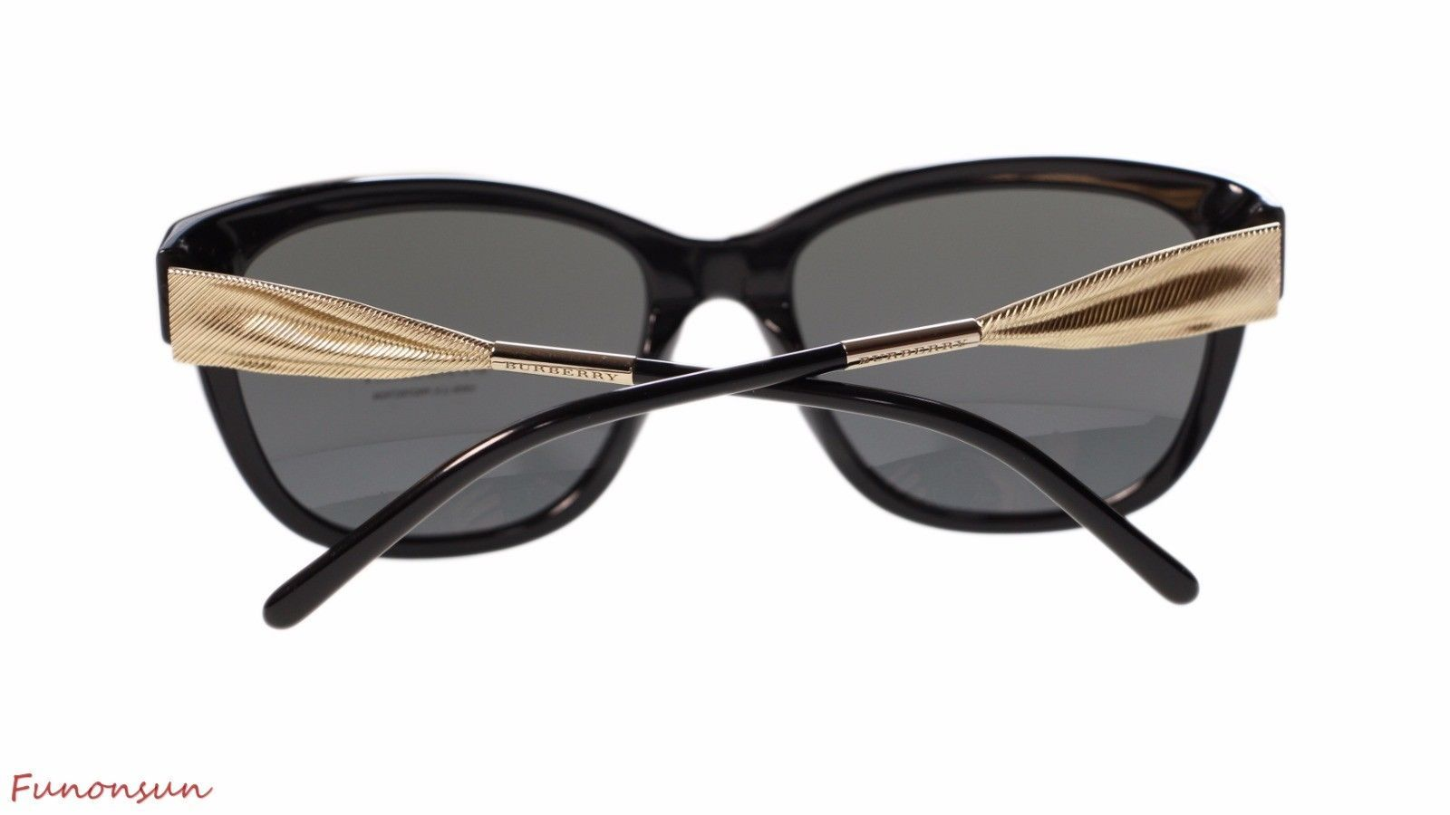 a87cc7aa4b Burberry Women s Sunglasses BE4203 300187 Black Gold Grey Lens Cat Eye  Authentic