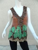 DELETTA WOMAN Tank Top Shirt Knit  Floral SHIRT GREEN BROWN FRINGE Sz-M - $19.30