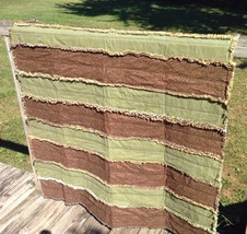 "Rag Quilt Handmade Cotton Flannel Crib or Throw Size  Patchwork 46"" Wide... - $93.31"