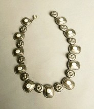 Stunning Ornated Silver Metal White Beads Necklace Vintage Jewelry - $94.05