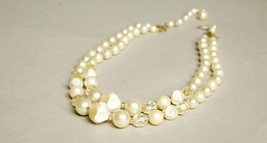 Retro Short Necklace Multi-strands Pearls Yellow Crystals Beaded Vintage... - $39.60