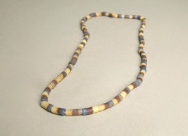 Multi-colored Blue Brown Beige stripes Long String Beaded Necklace Handm... - $34.65