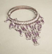 Purple Crystals Necklace Plastic Beads Choker Bib Vintage Jewelry - $44.55