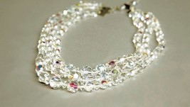 Aurora Borealis Multi-Strand Short Necklace Faceted Clear Crystals Beads... - $49.50