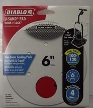 """Diablo DCD060BLUF04W 4 Pack U-Sand Pad Hook & Lock 6"""" Fine 100-120 Grit ... - $4.25"""