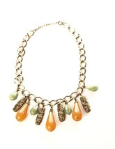 Plastic Drops Golden Chain Link Necklace Vintage Jewelry Green Yellow Ca... - $49.50
