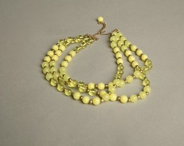Yellow Plastic Necklace Multi-strands Beaded Vintage Jewelry - $34.65