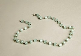 Plastic Beaded Necklace Mint Green Metallic Beads Chain Link Vintage Jewelry - $39.60