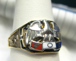 Mens Vintage 10K White Gold FOE Ring Eagle Armed Forces Size 10.5 - £230.23 GBP
