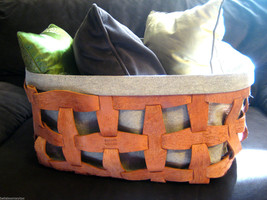 Rare Pinetti Leather Hook Weave Canvas Basket - $303.88