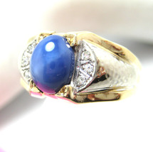 Mens Vintage 14K White Gold Ring with Synthetic Llindy Star Sapphire Siz... - €525,74 EUR