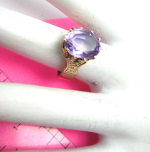 Antique 14K Yellow Gold Solitaire Ring Light Purple Glass Size 6.5 4.1 g... - $303.88