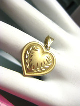 Vintage 10K Brushed Yellow Gold Puffy Heart Pendant with Surface Etching... - $60.78