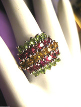 Sterling Silver Ladies Ring with Rows of Peridot Citrine Garnet Size 10 ... - €72,30 EUR