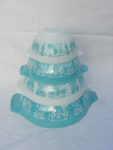 4 Vint Pyrex Turquoise & White Amish Butterprint Cinderella Nesting Mixi... - $99.99