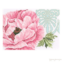 Set cross stitch Lanarte 11105A Pink flower with ornament.Razmer 19/14 cm . - $15.00