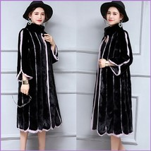 Black And Lavendar Moonlight Contrast Long Scalloped Mink Faux Fur Luxury Coat image 3