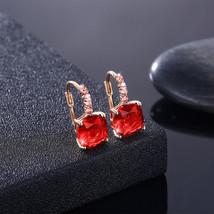 Swarovski Elements Red Ruby Bella Earrings Silver Plated Dangle Earrings - $9.79