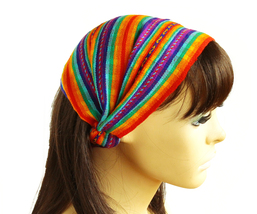 Rainbow Peruvian ethnic Woven Turban Headband, Head Wrap, wide boho head... - €8,03 EUR
