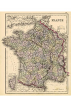 Map of France with Corsica; Colton's Atlas of the World; 1856; Antique - $26.72+