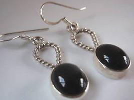 Black Onyx Rope Style Hoop Silver Dangle Earrings New - $14.35