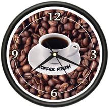 COFFEE Wall Clock shop cafe kitchen beans java mug - $19.79