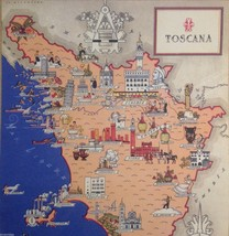 Vintage Reprint Color Travel Ad Map of Toscana Tuscany Italy