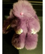 Furry Bunny Key Chain Rabbit Car Key Chain Handbag Backpack~Purple - $3.91
