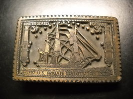 Postage Stamp Style Belt Buckle 3 Cent Postage 1797 1947 US Frigate Constitution - $12.99