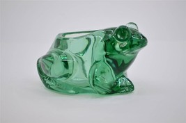 INDIANA GLASS SPANISH GREEN FROG VOTIVE CANDLE HOLDER HEAVY WEIGHT NEW W... - $9.99