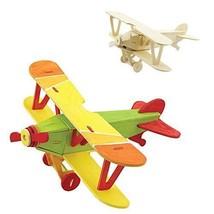 Wood 3D Weapon Puzzles Biplane 3D Woodcraft Kit Assemble Paint DIY 3D Pu... - $14.89